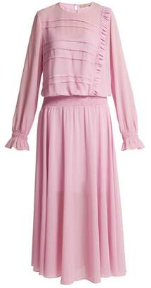 Preen Line Salome Drop Waist Silk Georgette Dress - Womens - Pink