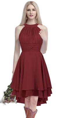 ThaliaDress Short Chiffon Halter Hi Lo Country Bridesmaid Dress Prom Gown T052LF US