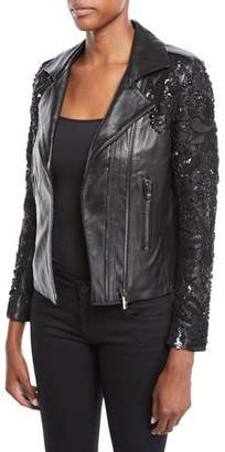 Nour Hammour Sophia Zip-Front Lambskin Leather Jacket w/ Studded Embroidered Sleeves