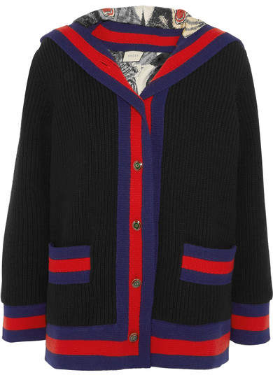 Gucci - Hooded Silk-lined Ribbed Wool Jacket - Black