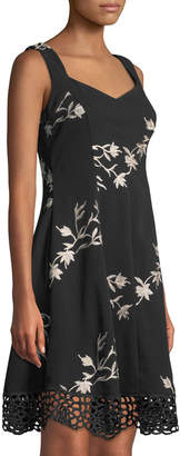 Donna Ricco Floral-Embroidered Scuba Crepe Fit-and-Flare Dress