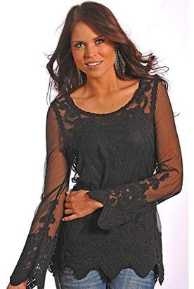 Rock and Roll Cowgirl Women's Long Sleeve Lace Top B4-4811 Blouse MD