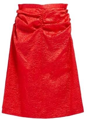 Toga Gathered Crinkled Satin Skirt - Womens - Red