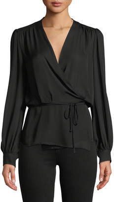 L'Agence Cara Long-Sleeve Silk Wrap Blouse