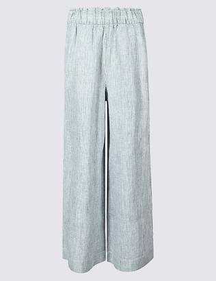 Marks and Spencer Pure Linen Wide Leg Cropped Flared Trousers