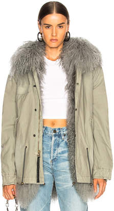 Mr & Mrs Italy Mongolia Fur Lined Cotton Canvas Parka
