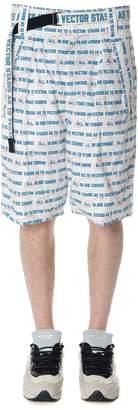 Sacai White All Over Text Print Cotton Shorts