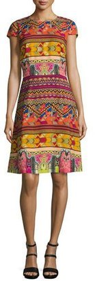 Etro Ribbon-Print Cap-Sleeve A-Line Dress, Red/Multi $1,490 thestylecure.com