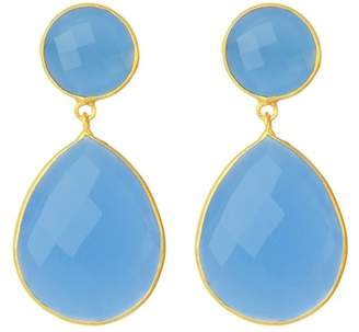Saachi Faceted Light Blue Chalcedony Double Drop Earrings