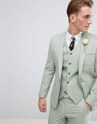 Asos DESIGN Wedding Skinny Suit Jacket In Sage Green
