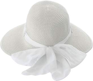 Simplicity Women Wide Brim Beach Sun Straw Hat, 3-Natural w/ White Ribbon