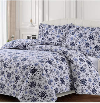 Tribeca Living Snowflakes Cotton Flannel Printed Oversized King Duvet Set Bedding