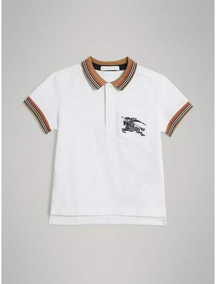 Burberry Childrens Heritage Stripe Detail Cotton Polo Shirt
