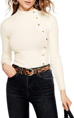 Topshop Side Button Rib Sweater