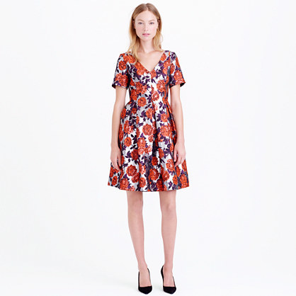J.Crew Collection metallic floral jacquard dress