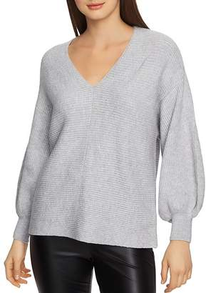 1 STATE 1.STATE V-Neck Bubble-Sleeve Sweater