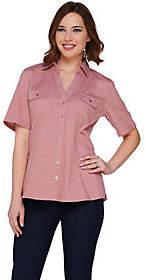 Denim & Co. Stretch Denim Short Sleeve CampShirt