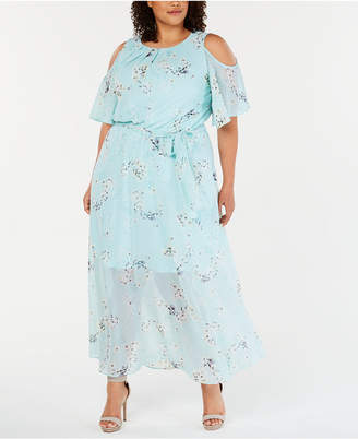 Calvin Klein Plus Size Cold-Shoulder Floral Maxi Dress