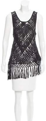 Polo Ralph Lauren Fringe-Trimmed Crochet Top w/ Tags