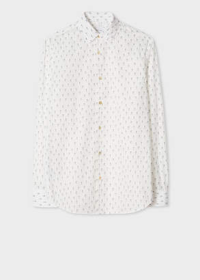 Paul Smith Men's Tailored-Fit Cream 'People' Print Cotton Shirt With Contrasting Cuff Lining