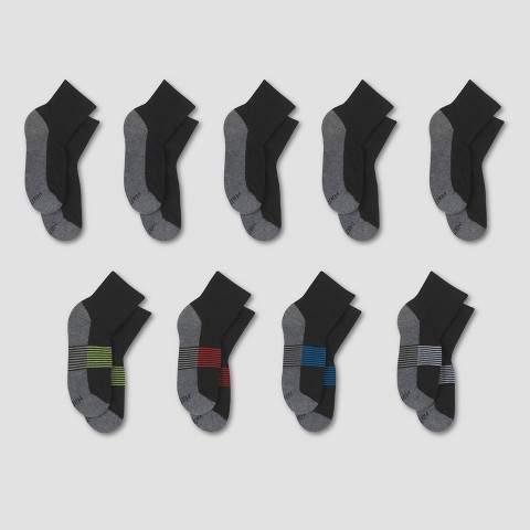 Hanes Premium Boys' 8+1 Bonus Pack Ankle Socks - Black