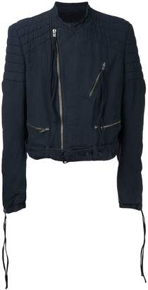 Haider Ackermann quilted collarless biker jacket