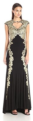 Betsy & Adam Women's Long Lace Over Jersey $309 thestylecure.com