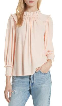 Rebecca Taylor Long Sleeve Voile Texture Jersey Top