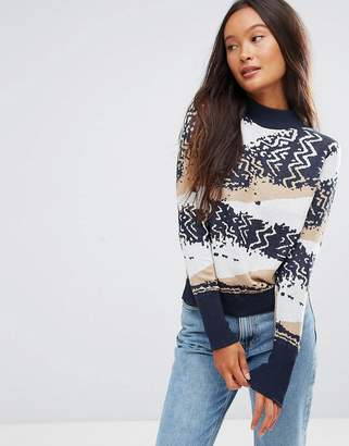 Shae Cotton Abstract Knit Sweater
