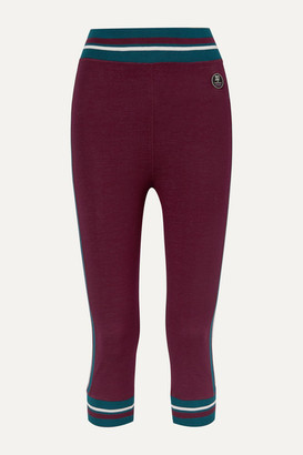 We Norwegians - Voss Cropped Striped Stretch-merino Wool Leggings - Merlot