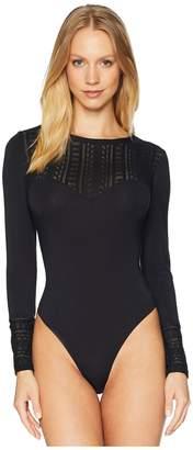 Felina Long Sleeve Sweater Neckline Thong Bodysuit Women's Jumpsuit & Rompers One Piece