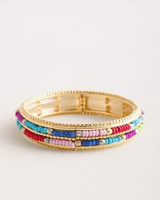 Chico's Chicos Colorful Seed Bead Stretch Bangle