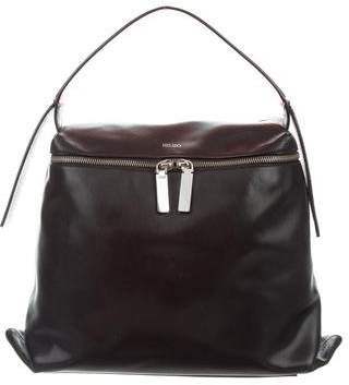 Kenzo Watersnake-Trimmed Leather Bag