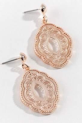 francesca's Jacqueline Filigree Drop Earrings - Rose/Gold
