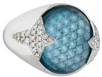 Ring 18K Diamond & Blue Topaz Dome Cocktail