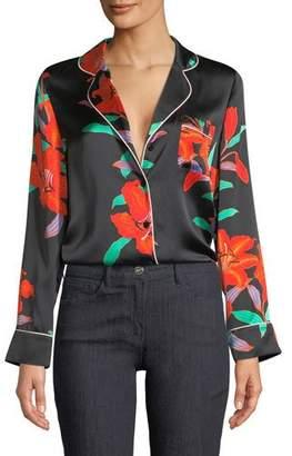 Diane von Furstenberg Long-Sleeve Silk Pajama Top