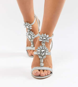 Asos Design DESIGN Vikki Wide Fit Embellished Heeled Sandals