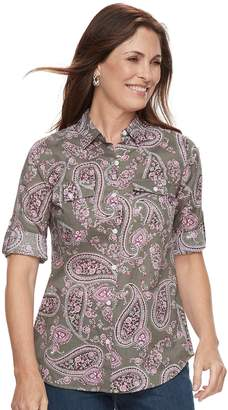 Croft & Barrow Women's Roll-Tab Woven Shirt