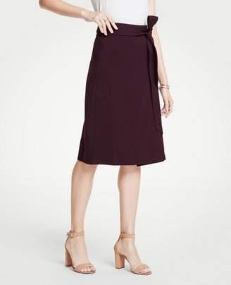 Ann Taylor Petite Tie Waist Midi Wrap Skirt