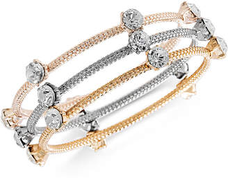Steve Madden Tri-Tone 3-Pc. Set Crystal Bangle Bracelets