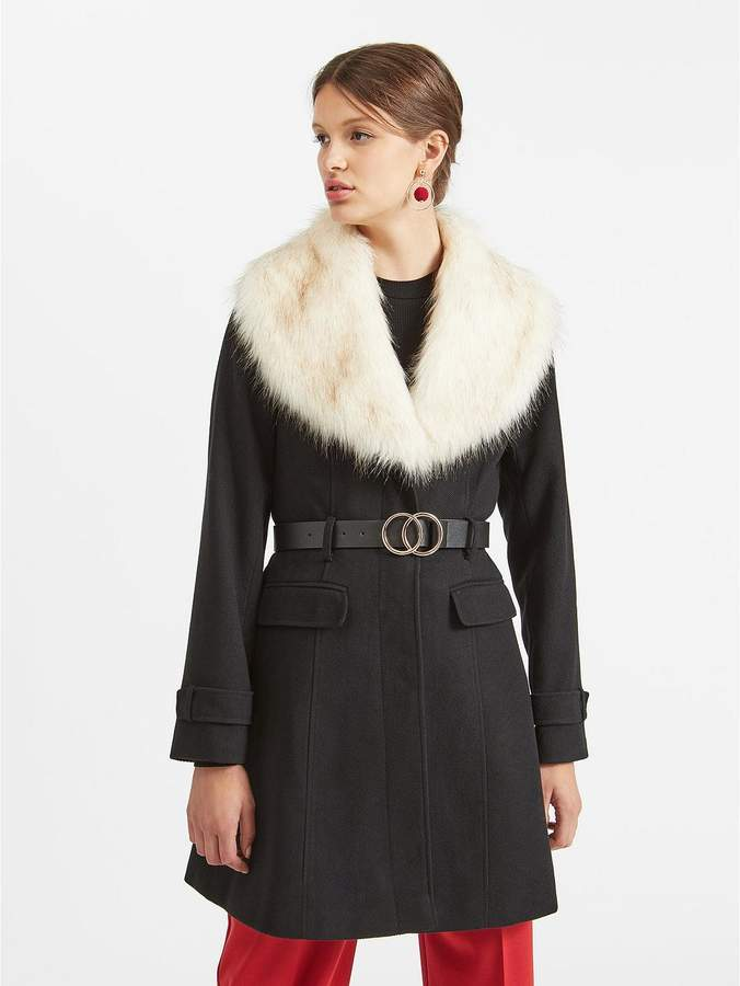 Faux Fur Fit And Flare Coat
