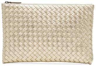 Bottega Veneta metallic Intrecciato woven leather clutch