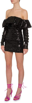 ATTICO The Sequined Off-the-Shoulder Dress