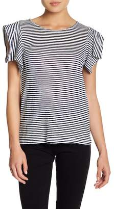MELLODAY Ruffled Shoulder Striped Tee (Petite)