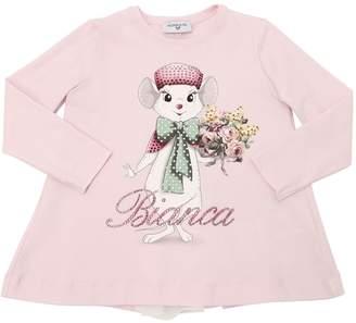 MonnaLisa Bianca Print Cotton Interlock T-Shirt