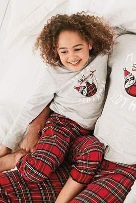 Next Boys Grey/Red Kids Merry Slothmas Tartan Pyjamas (9mths-16yrs)
