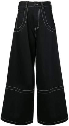 Maison Margiela contrast stitch palazzo jeans