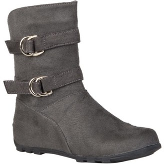 Co Brinley Girl's Buckle and Strap Accent Mid-calf Boots