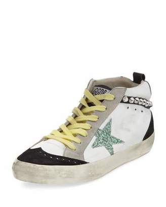 Golden Goose Brogue Leather Mid-Top Sneakers