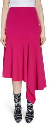 Balenciaga Asymmetrical Drape Midi Skirt